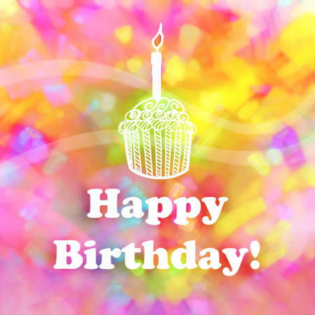 gold textured background: Happy Birthday design, hand drawn cute cupcake with candle in white lines and Happy Birthday text in white font on bright colorful confetti style background