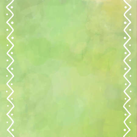 display: digital watercolor painting in pastel yellow and green with white border design of zig zag lines and dots
