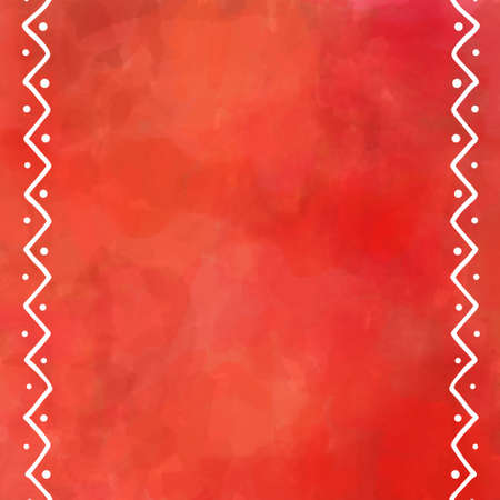 painting: digital watercolor painting in orange autumn color with white border design of zig zag lines and dots