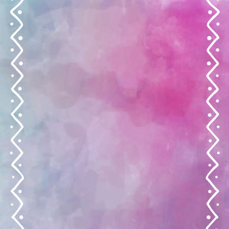 ribbon: digital watercolor painting in pastel pink and purple with white border design of zig zag lines and dots