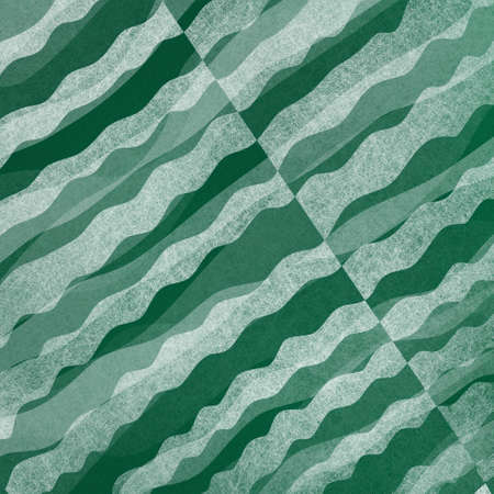 blue green background: abstract green and white background with layered waves of textured material design Stock Photo