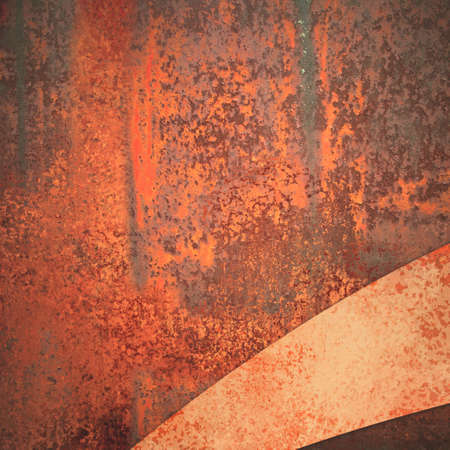 dirty: old rusted metal with peeling red and orange paint and corner ribbon or stripe in diagonal layout Stock Photo