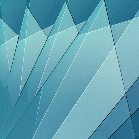 edge design: abstract textured background with light and dark blue triangle fan shapes in cool geometric pattern with raised 3d edge effect, artsy business design Stock Photo