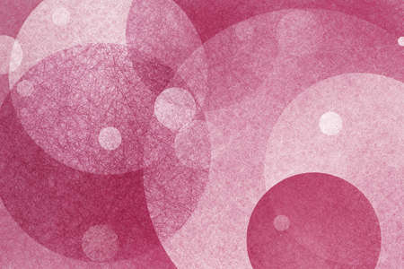 spot the difference: pink abstract background design with transparent layers of floating circles with white parchment or linen texture Stock Photo