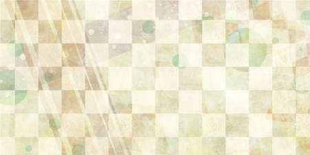 aged: distressed faded checkered background with faint design elements of angled stripes and circles, brown and white background squares with vintage grunge texture with abstract pale shapes overlay