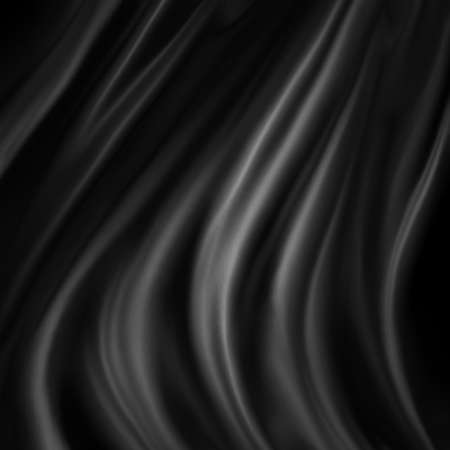 black material draped in wavy folds, elegant luxury black background design Stock Photo
