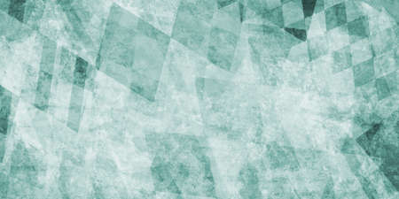 grungy: faded teal blue green background with abstract diamond and square shapes in layered pattern with old vintage texture