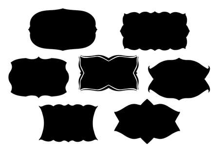 plate: blank black vector frames or text boxes in old Victorian style with fancy ornate curves and scalloped edges or border designs Illustration
