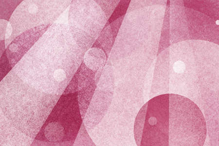 white background: pink abstract background design with transparent layers of floating circles and stripes or rectangles of white parchment or linen texture