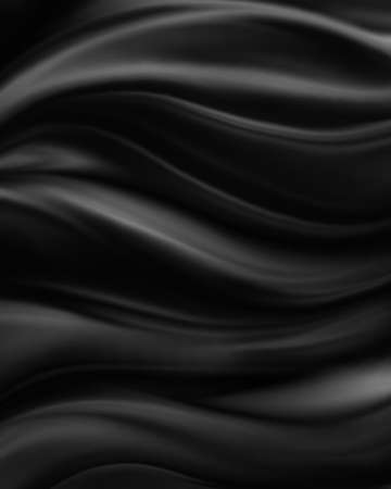 abstract backgrounds: shiny black material background, elegant luxury material with draped folds and wrinkled creases of smooth wavy silk fabric Stock Photo