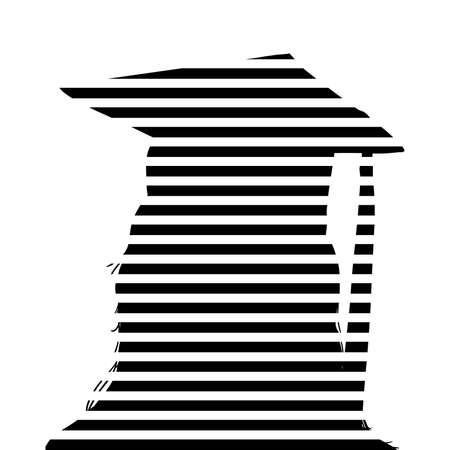 ged: graduation cap and tassel on striped modern black and white silhouette of graduate, artsy modern design of senior in high school college or university completing their higher education degree Stock Photo