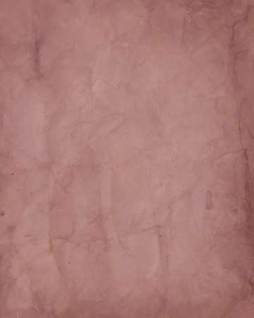 distressed paper: old reddish brown paper background with crinkled wrinkled vintage texture and distressed stains, creases and tears for worn, used parchment design, pale red backdrop