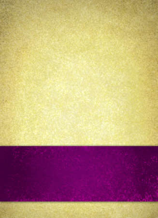 beige: purple ribbon on vintage gold textured background, thick flat stripe of vibrant purple color on background border,  elegant purple and gold valentines day background layout for poster or website Stock Photo