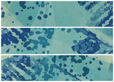 ink stain: abstract modern design pattern, website header or footer template, abstract background in blue and green colors with ink splatter and stains Stock Photo