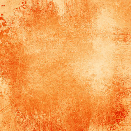 old bright orange paper background with grunge and messy stains and paint blotches, distressed faded wallpaper design with grungy antique texture Stock Photo