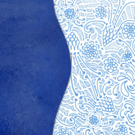 paper texture: blue curved layer on abstract background pattern, elegant blue sidebar panel in artistic wavy shape on textured zentangle style blue and white doodle flower pattern background