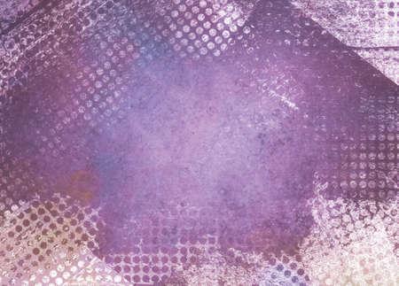 Rommelig grunge paars achtergrond papier met getextureerde abstracte witte rooster patroon grens Stockfoto
