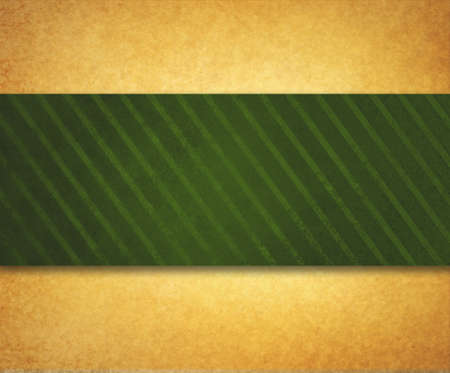 diagonal: vintage gold paper background illustration with thick diagonal striped green ribbon or material design with shadow and texture