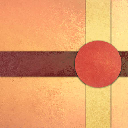 peachy: Intersecting stripes in yellow and red brown layers with circle or button in reddish orange color on soft peach and pink background, abstract background layout with copyspace