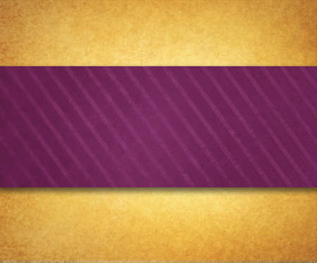 color background: vintage gold paper background illustration with thick diagonal striped dark purple pink ribbon or material design with shadow and texture