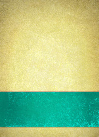 beige: thick teal blue green ribbon or stripe on gold background, elegant luxury background with vintage gold texture layout, blank bright blue label and center copyspace