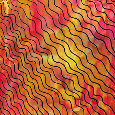 abstract colorful fun background design with wavy lines over marbled yellow gold and pink