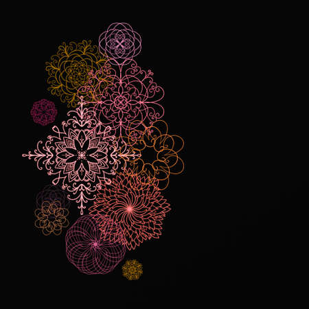 abstract symmetrical patterned design elements in warm colors, layered on black background, pretty falling snowflakes illustration, cool artistic intricate lace pattern shapes, geometrical backdrop