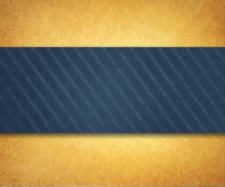 textured backgrounds: vintage gold paper background illustration with thick diagonal striped blue ribbon or material design with shadow and texture Stock Photo
