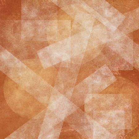 contemporary: abstract gold layered circles and square rectangle stripe shaped pattern on orange background with faded white texture
