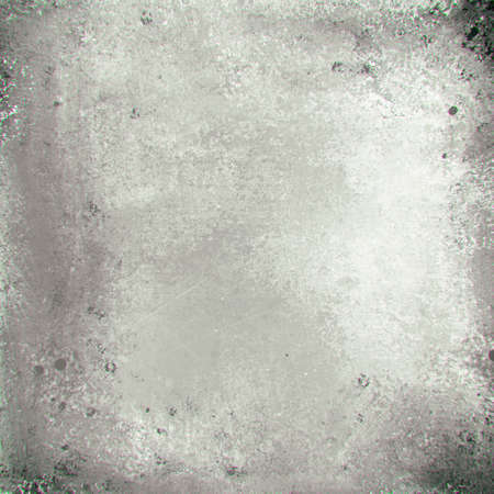 shiny background: old distressed antique texture on peeling painted gray metal background illustration with stains and vintage grunge border design, grungy black and white paper Stock Photo