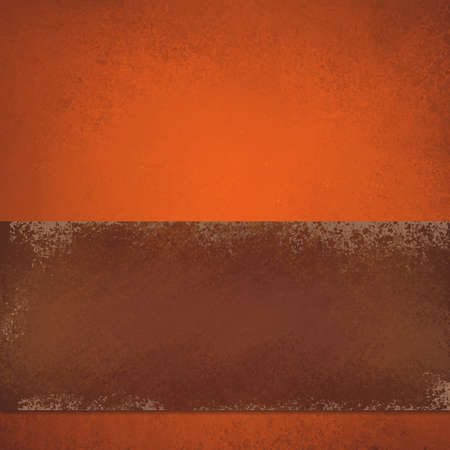 autumn or Thanksgiving background design with warm orange texture and grunge brown stripe or ribbon layout of painted leather illustration Stock Photo