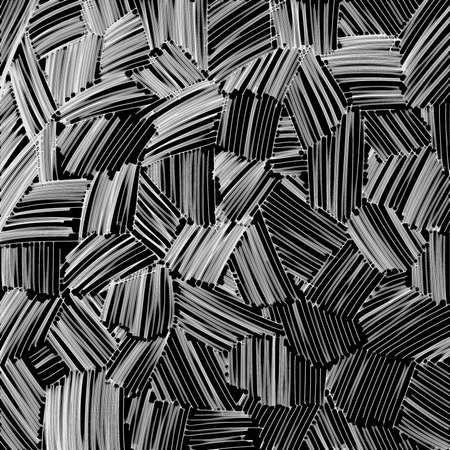 abstract black and white glass texture lines on black background, unusual hatchwork design