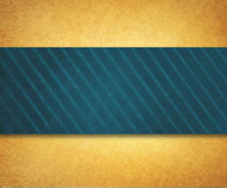 diagonal stripes: vintage gold paper background illustration with thick diagonal striped blue green ribbon or material design with shadow and texture