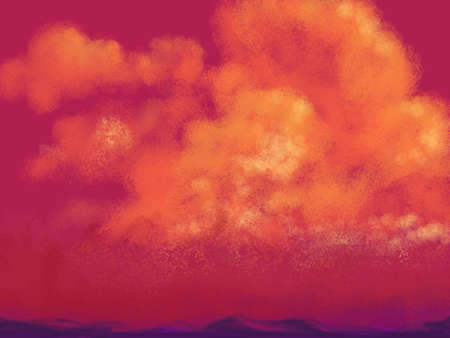 puffy: painted sunset or sunrise illustration in red orange pink and yellow colors on puffy clouds floating in sky over thin hilly mountain landscape