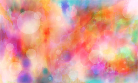 blue green background: bright colorful digital watercolor paint background with white transparent circles bubbles or bokeh lights on pink purple blue green and red colors Stock Photo