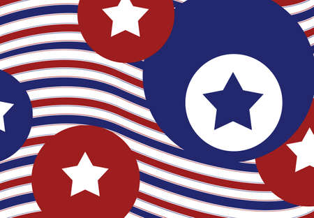artsy: abstract red white and blue stars and stripes background, fun patriotic July 4th colors in wavy striped pattern with circles
