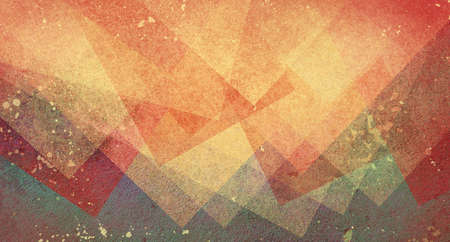 green lines: abstract modern background art design with red orange and yellow triangle and block shapes on dull purple blue green vintage backdrop with grunge stains and texture Stock Photo
