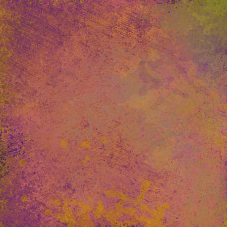 worn: scratched and stained background texture in purple gold and green colors, abstract background design, shabby rust or patina paint illustration, peeling distressed background image