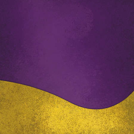 purple background with fancy elegant wavy gold design element on bottom border, abstract waved yellow decoration Foto de archivo