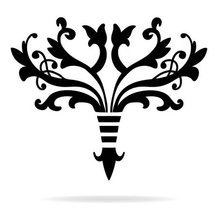 elegant hand drawn fleur de lis symbols in ornate stylized design elements, fancy paragraph or text divider with symmetrical leaves, scrollwork, flourishes and floral decorations Illustration