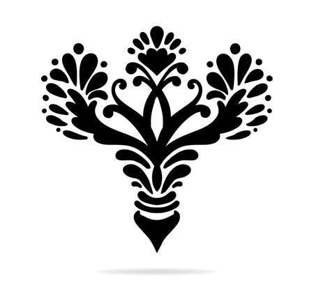 scrollwork: elegant hand drawn fleur de lis symbols in ornate stylized design elements, fancy paragraph or text divider with symmetrical leaves, scrollwork, flourishes and floral decorations Illustration