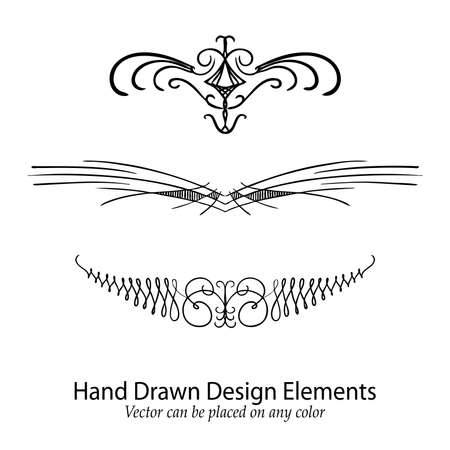 line drawings: abstract vector design elements, set of beautiful fancy curls and swirls divider or underline design, black ink lines. Wedding design element. Can be placed on any color.