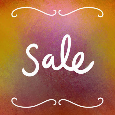 Sale sign, handwritten white typography letters on red and gold background