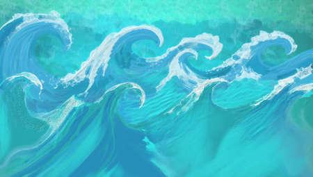 Golven in abstracte handgeschilderde kunst ontwerp met textuur, grote oceaan golven met stormachtige witte doppen in blauw en aquamarijn kleuren, overstroming Stockfoto