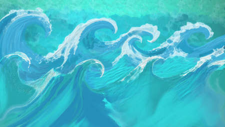 blue green background: Waves in abstract hand painted art design with texture, large ocean waves with stormy white caps in blue and aquamarine colors, flood