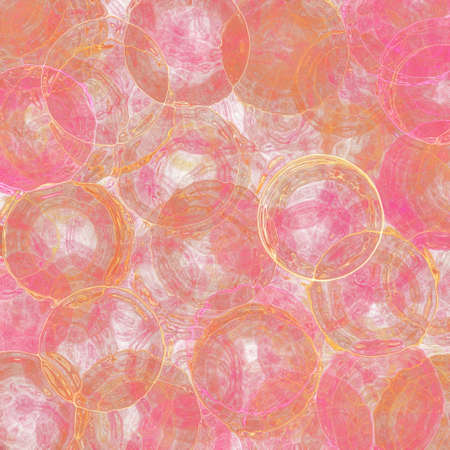 paints: abstract stained glass rings of shiny gold on textured pink and white background, rings and circle shapes in random pattern