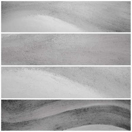 gray: Black and white banner backgrounds with waves of painted grunge textured stripes, set of gray headers footers or sidebar designs for website template layouts Stock Photo