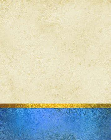 portadas libros: Fondo blanco con banda de pie azul y recorte de cinta de oro, la textura de la vendimia y copyspace, elegante diseño de fondo formal