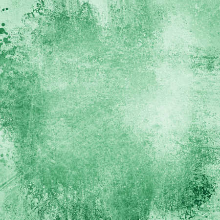 messy: Old green paper background with grunge and messy stains and paint blotches, distressed faded wallpaper design with grungy antique texture Stock Photo