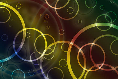contemporary: abstract background, layers of circles or rings on blue yellow red and green colors, soft blurred ring effect and lighting